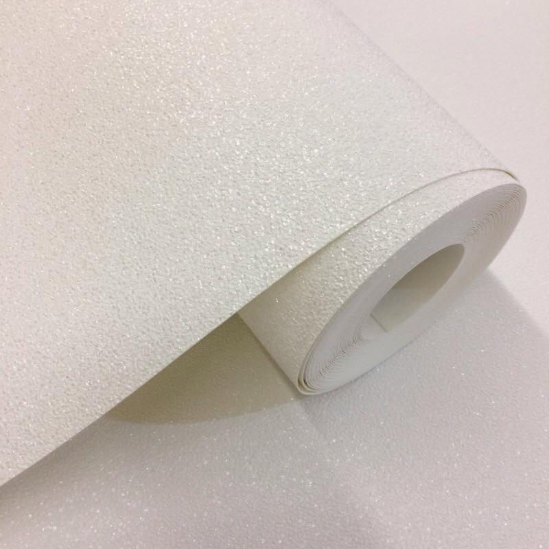 CARAT PLAIN TEXTURED GLITTER WHITE PEARL WALLPAPER