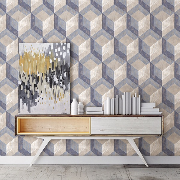 RUSTIC WOOD TILE BLUE GEOMETRIC