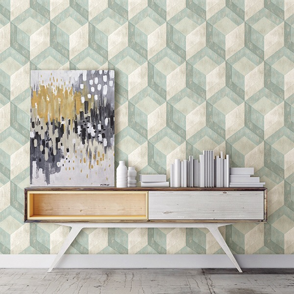 RUSTIC WOOD TILE GREEN GEOMETRIC