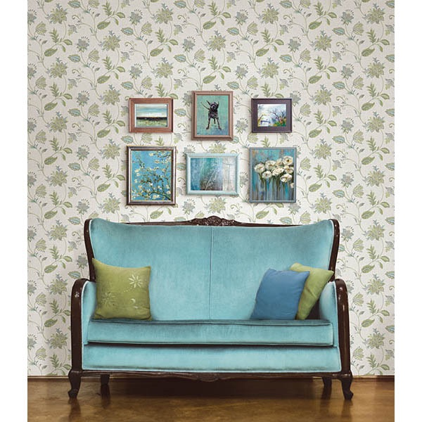 GEORGETTE TURQUOISE JACOBEAN