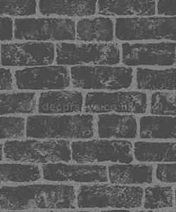 GLITTER BRICK WALLPAPER-BLACK/SILVER