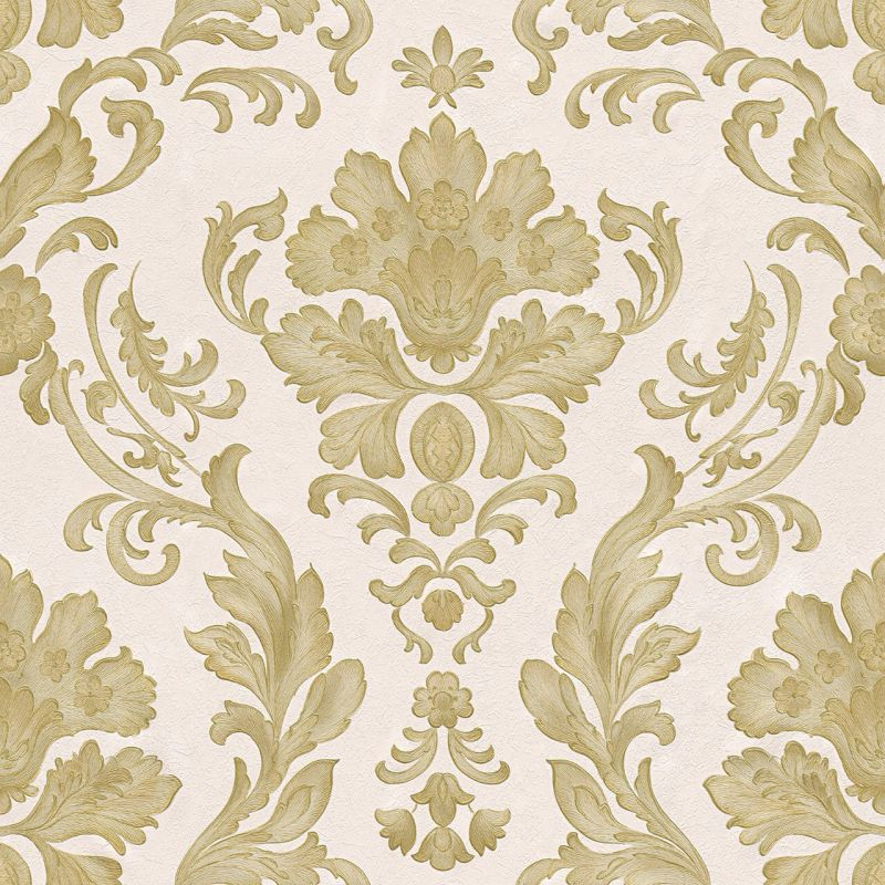 CONCERTO 2 WHITE AND GOLD DAMASK WALLPAPER