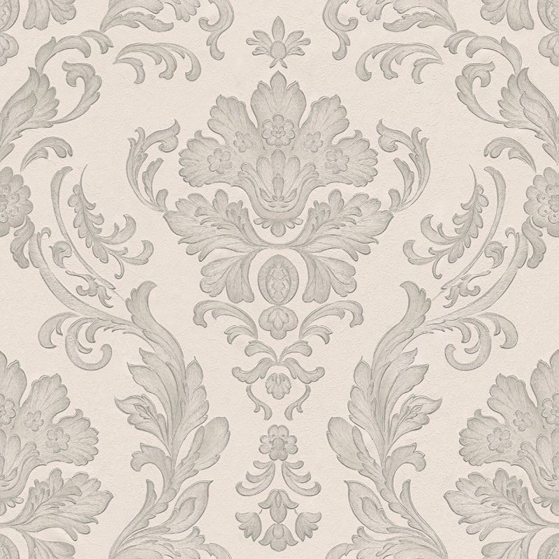 CONCERTO 2 WHITE AND GREY DAMASK WALLPAPER
