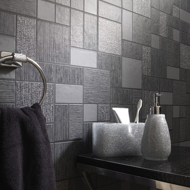 BLACK GLITTER TILE WALLPAPER