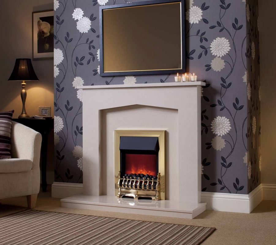 MELROSE MARFIL MICRO MARBLE SURROUND WITH LIGHTS
