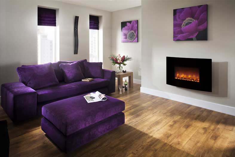 "ORLANDO 2KW WALL MOUNTED ELECTRIC FIRE 36"" CURVED BLACK GLASS"