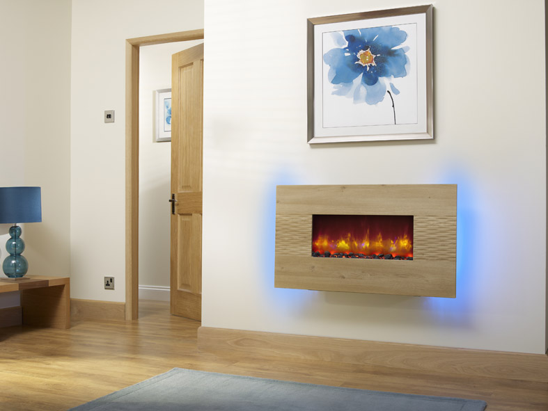 "ORLANDO 2KW WALL MOUNTED ELECTRIC FIRE 36"" ODESSA OAK"