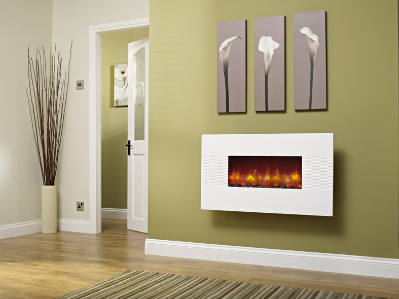 "ORLANDO 2KW WALL MOUNTED ELECTRIC FIRE 36"" GLOSS WHITE"