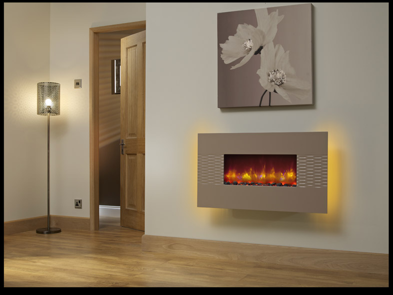 "ORLANDO 2KW WALL MOUNTED ELECTRIC FIRE 36"" CAPPUCCINO"