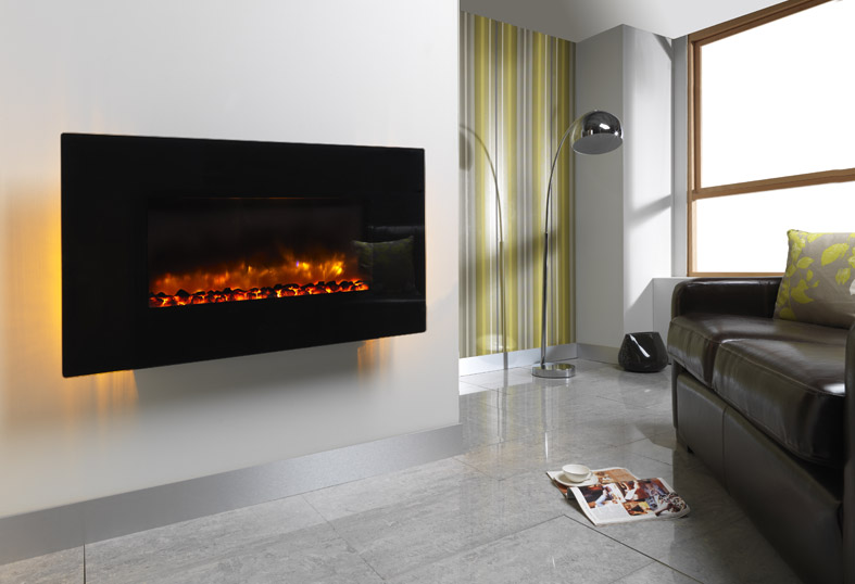 "ORLANDO 2KW WALL MOUNTED ELECTRIC FIRE 42"" FLAT BLACK GLASS"