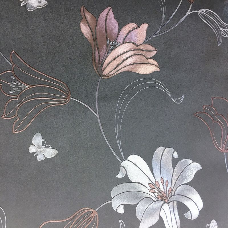 AMELIA FLORAL CHARCOAL / ROSE