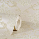 OMEGA DAMASK CREAM GLITTER WALLPAPER