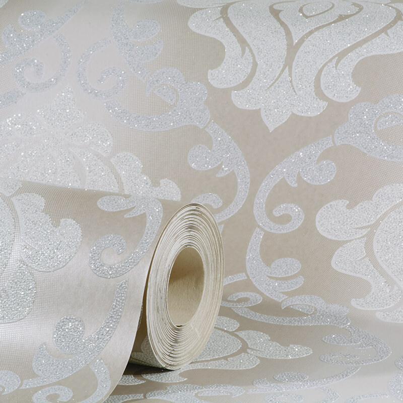 OMEGA DAMASK BEIGE GLITTER WALLPAPER