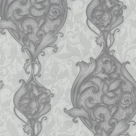 STUDIO LINE OPULENT SILVER DAMASK WALLPAPER