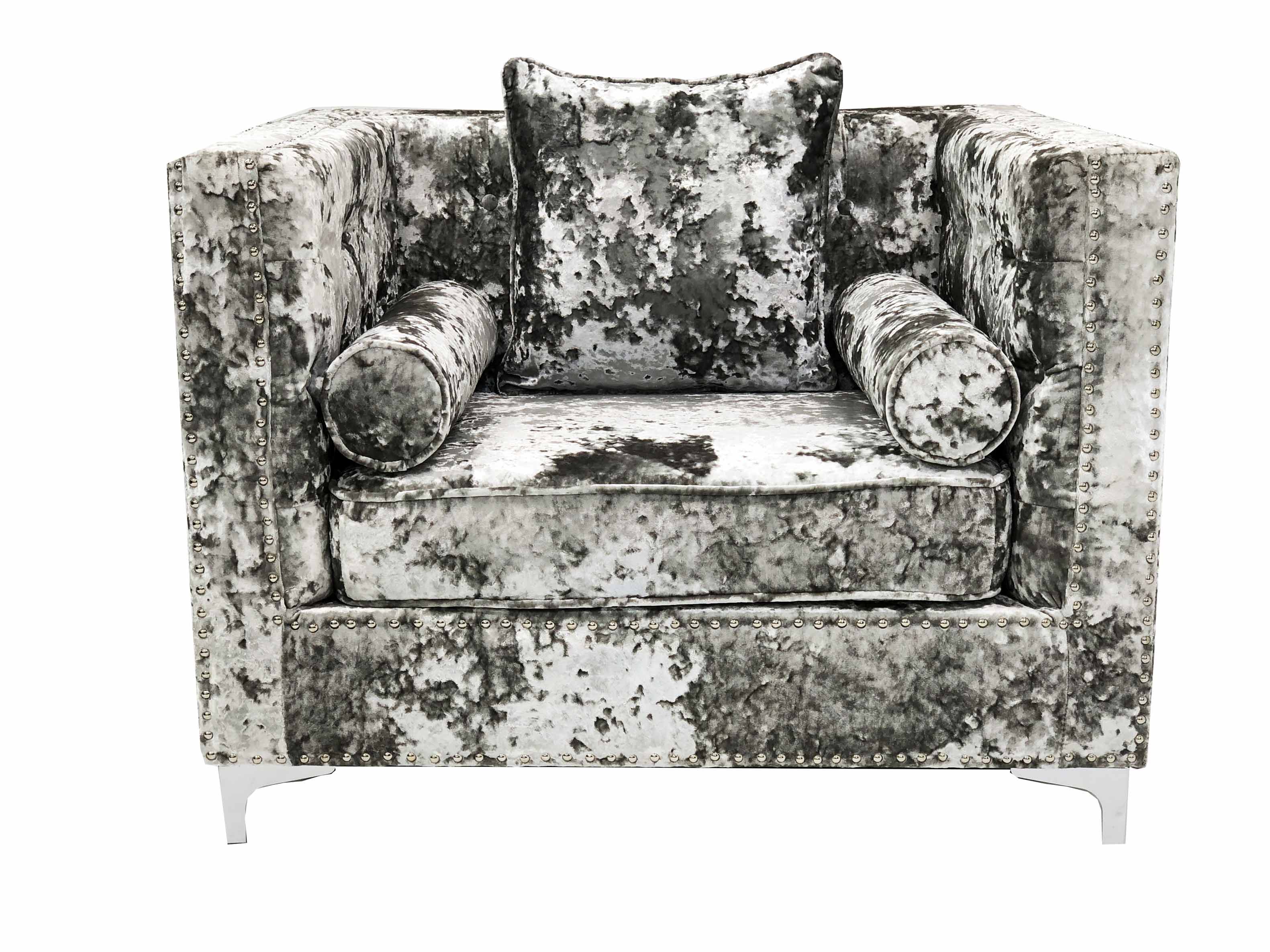 DENVER CRUSHED VELVET SILVER ARM CHAIR