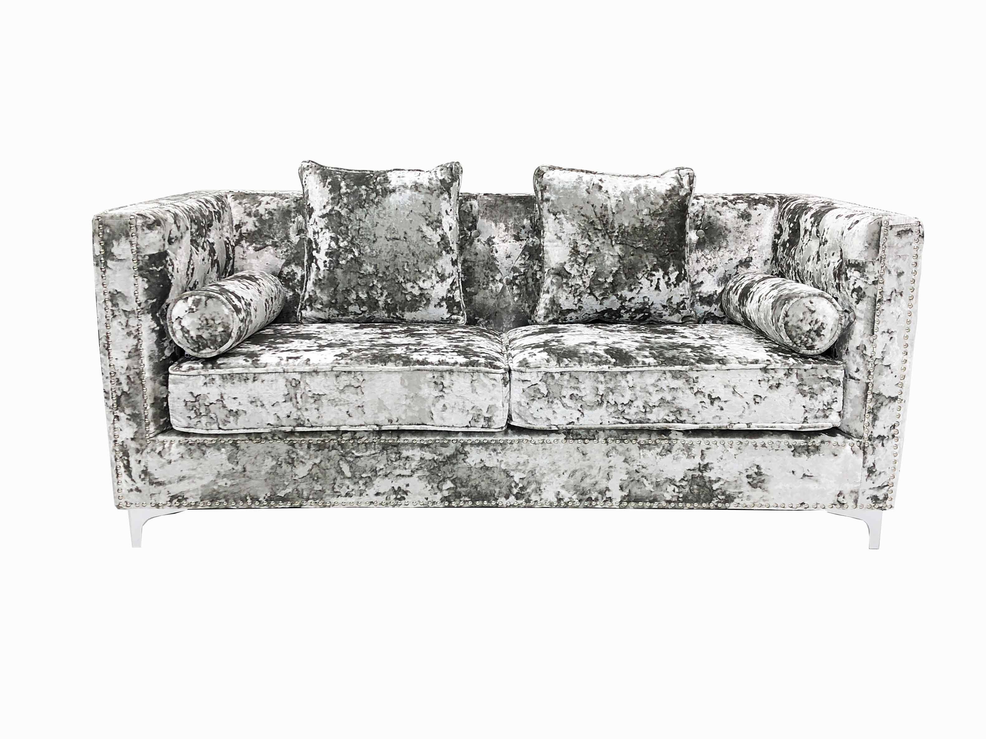 DENVER CRUSHED VELVET SILVER 2 SEATER