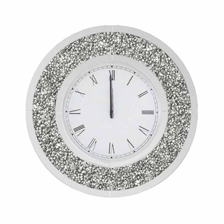 CRUSHED DIAMOND ROUND WALL CLOCK