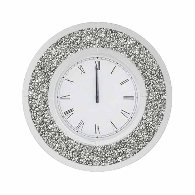 CRUSHED DIAMOND ROUND WALL CLOCK