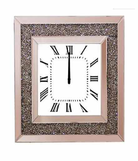 ROSE GOLD MIRRORED WALL CLOCK