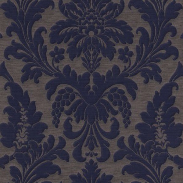 TRIANON BLUE/BROWN DAMASK