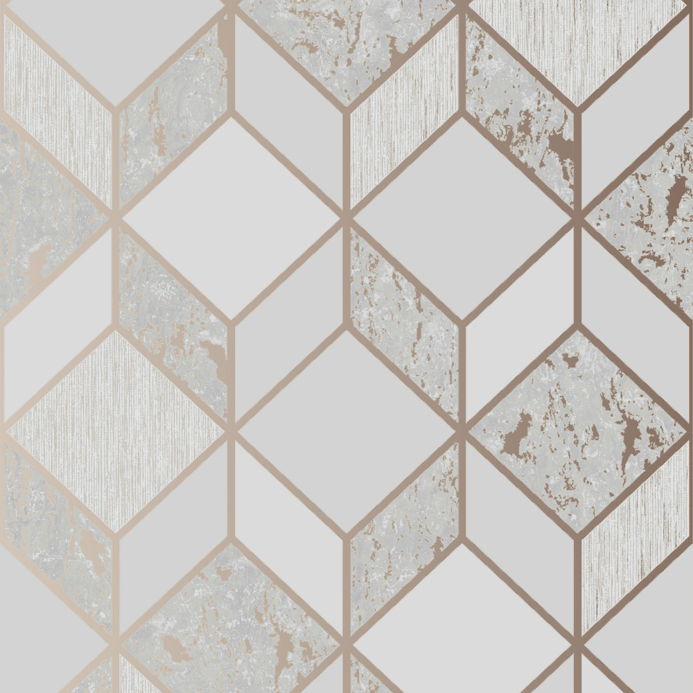 SUPERFRESCO VITTORIO GEO GREY ROSE GOLD WALLPAPER