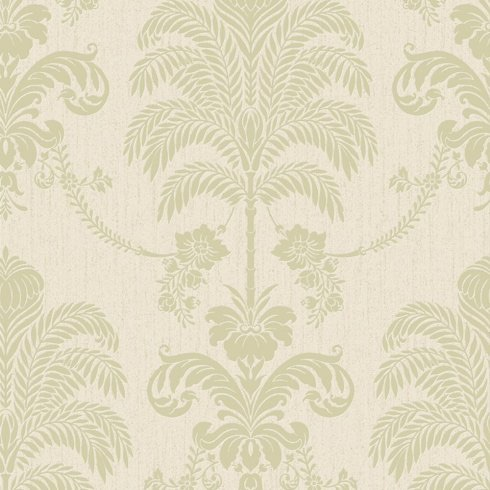 LA PALMA GREEN/CREAM DAMASK PATTERN FLORAL GLITTER MOTIF METALLIC WALLPAPER