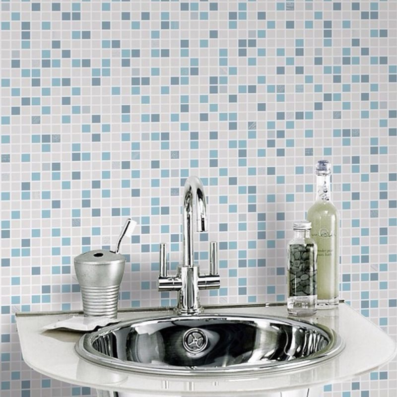 CHECKER BLUE/WHITE BATHROOM WALLPAPER
