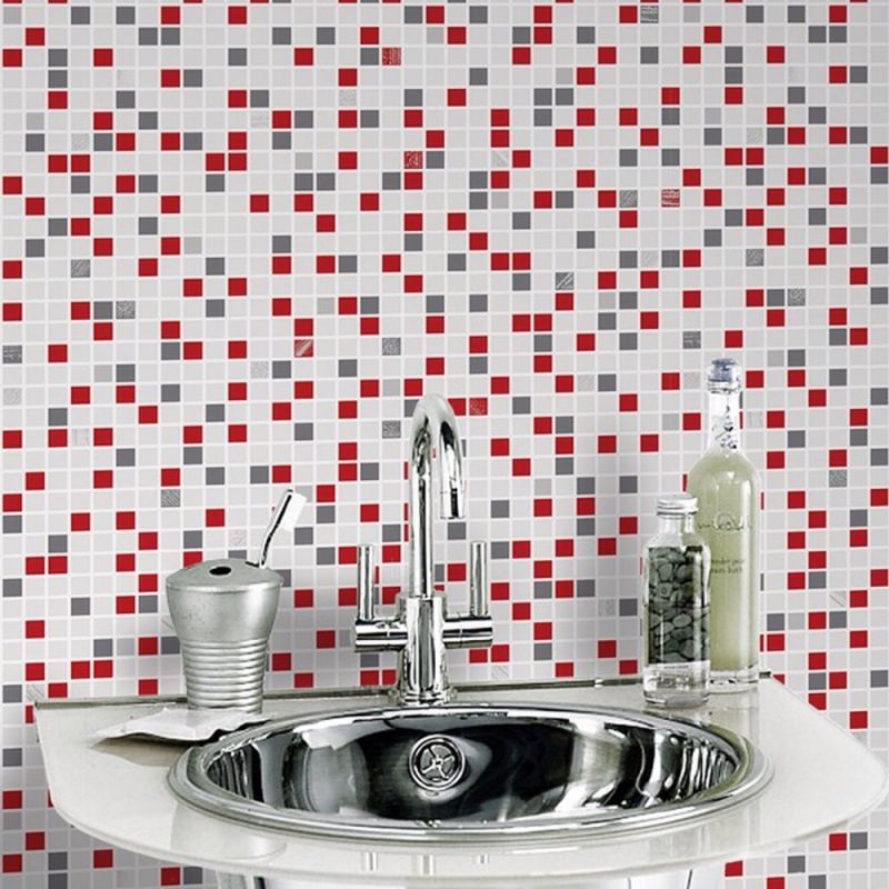 CHECKER PATTERN TILE EMBOSSED RED