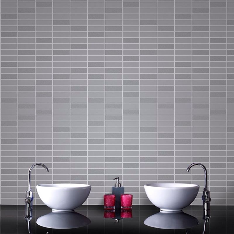 RIMINI TILE EFFECT PATTERN GREY GLITTER VINYL WALLPAPER