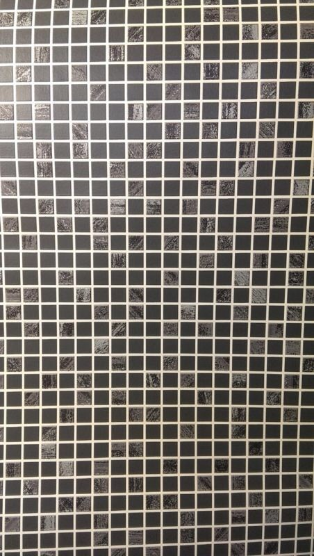 BLACK SILVER AURORA CHECKER MOSAIC TILE EFFECT KITCHEN BATHROOM WALLPAPER