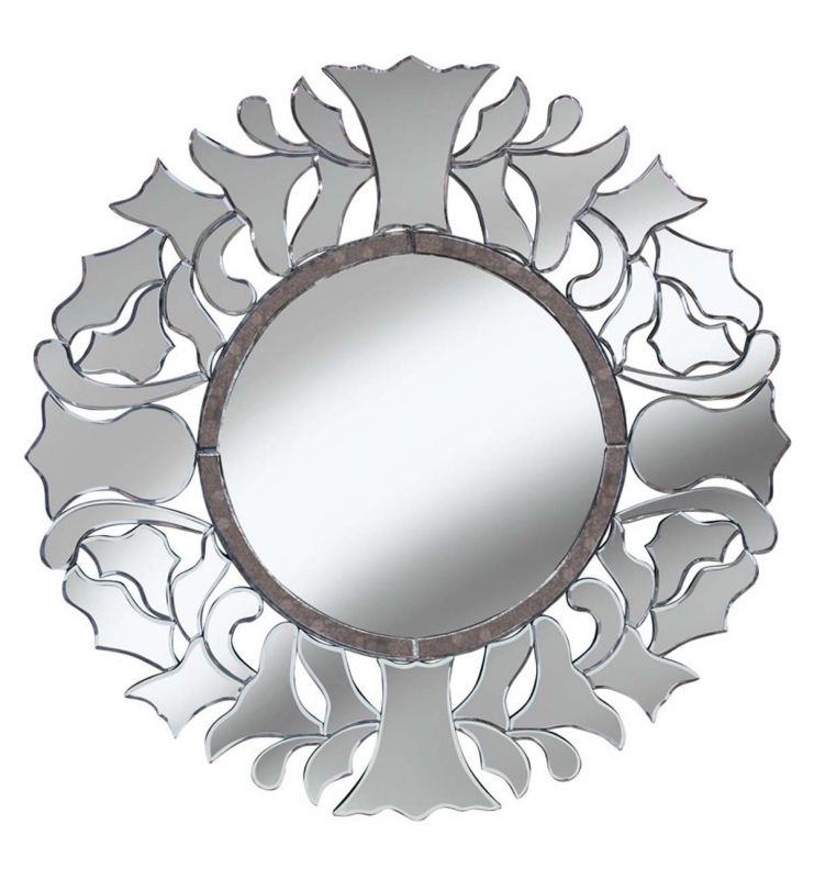 DECORATIVE MOET MIRROR ANTIQUE SILVER 90X90