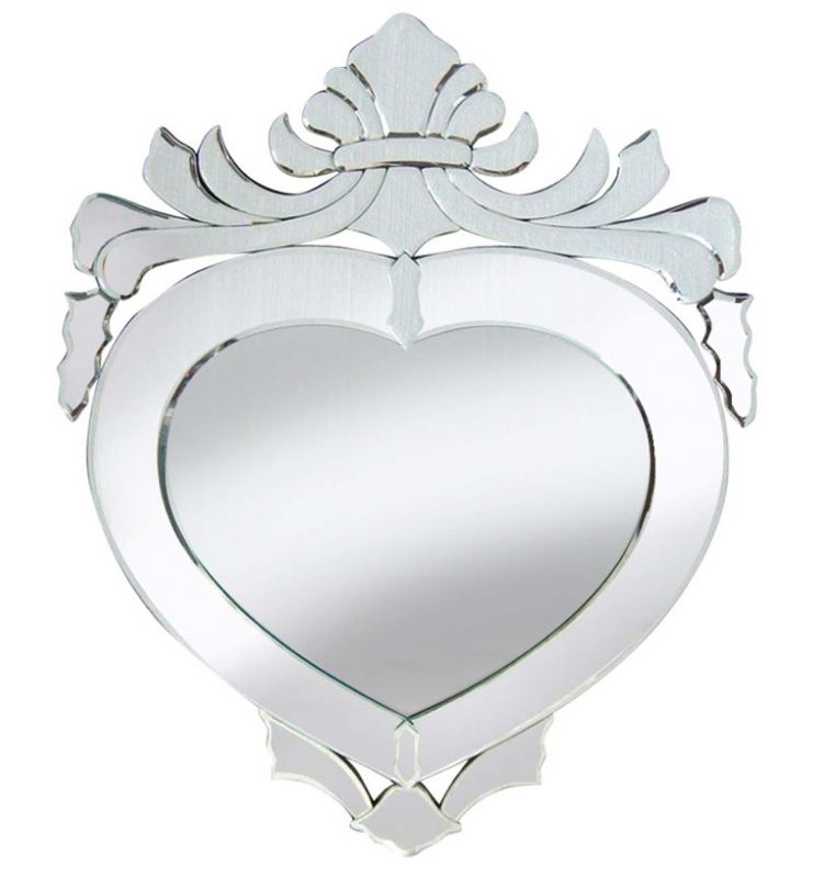 DECORATIVE HEART MIRROR SILVER 57.5X80.5