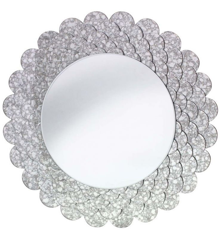 DECORATIVE ROUND MIRROR ANTIQUE SILVER 84X84
