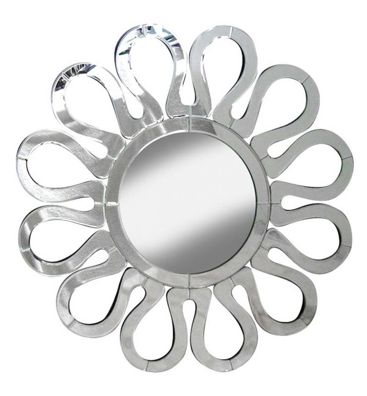 DECORATIVE FLOWER MIRROR SILVER 85X85