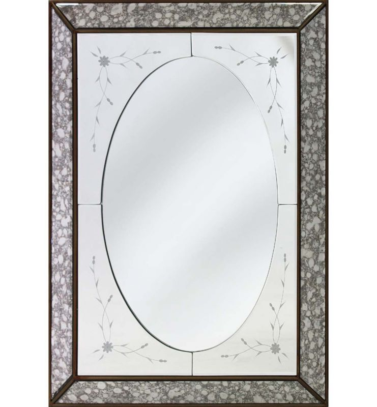 DECORATIVE 3D MIRROR ANTIQUE SILVER 60X80