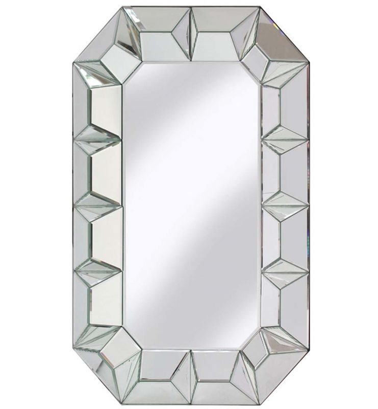 DECORATIVE FACET MIRROR SILVER 60X90