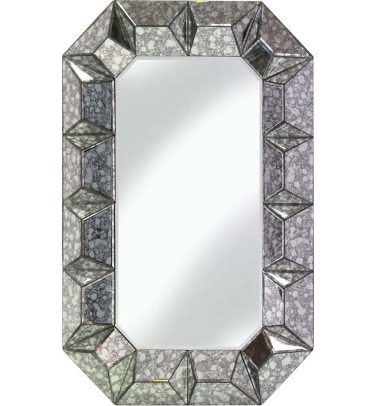 DECORATIVE FACET MIRROR ANTIQUE SILVER 60X90