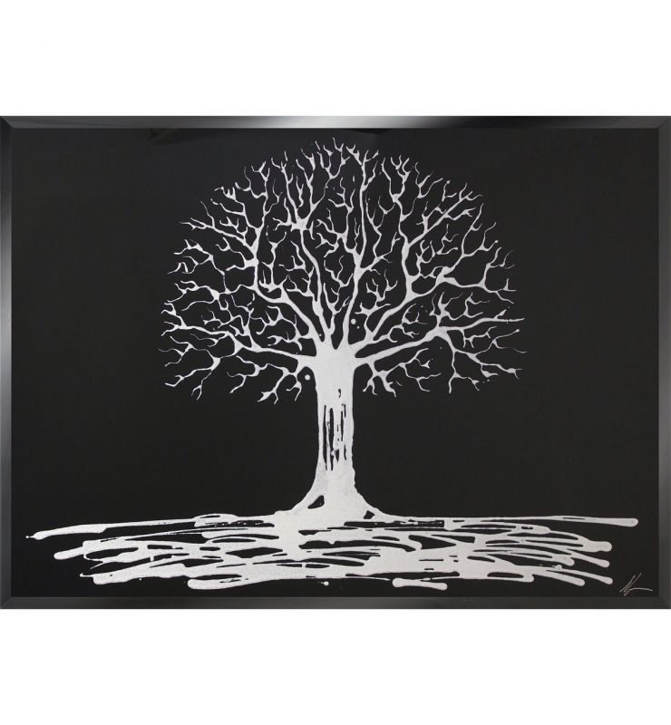 WHITE TREE ON BLACK 75CM X 75CM