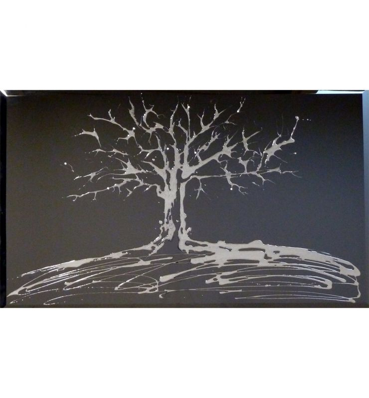 SWAROVSKI TREE ON BLACK 75CM X 75CM