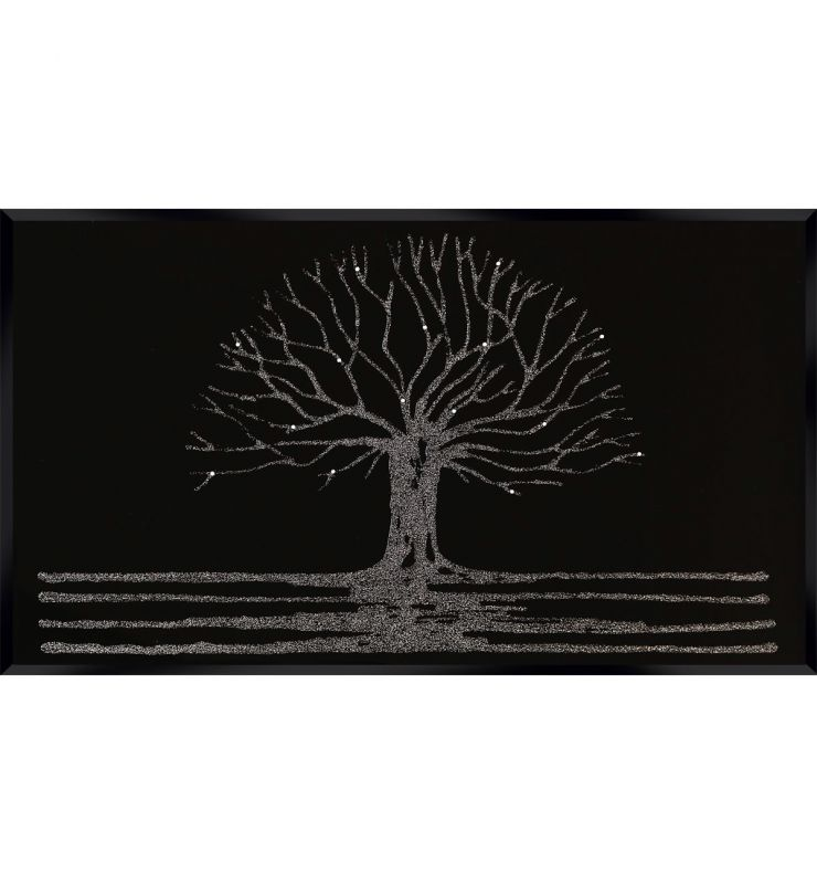 GLITTER TREE ON BLACK 120CM X 80CM