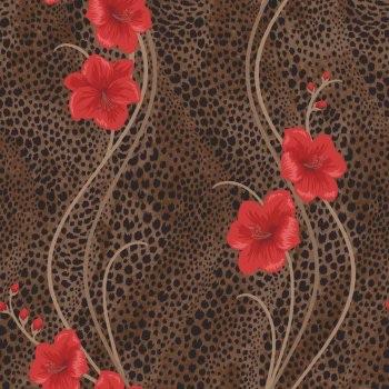 KARIBA FLORAL WALLPAPER CHOCOLATE BROWN / RED