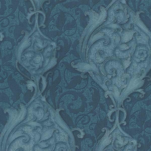 STUDIO LINE OPULENT RICH DARK TEAL DAMASK WALLPAPER