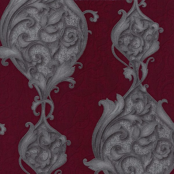 STUDIO LINE OPULENT RED DAMASK WALLPAPER